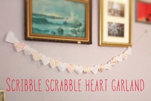 Valentines Day DIY - Scribble Scrabble Heart Garland