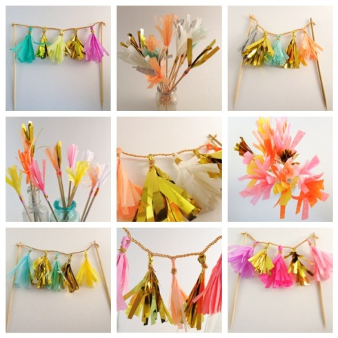 tissue tassel garland cake topper on etsy