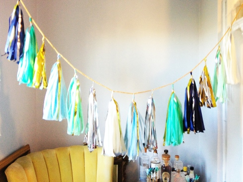 Navy, mint, teal, gold, silver tissue tassel garland by Sparkle Motion Decor