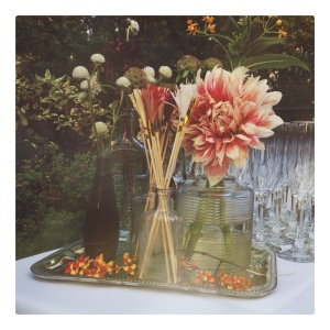 Flower arrangements and fringe drink stirrers by Sparkle Motion Decor