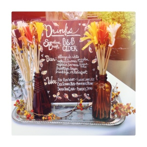 Hand painted bar menu and fringe drink stirrers by Sparkle Motion Decor